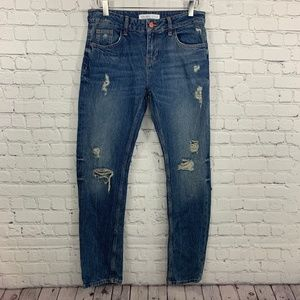 Zara Basic Z1975 Denim Distressed Skinny Jeans